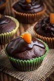 Vers gebakken chocolademuffins Stock Foto's