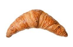 Vers gebakken croissant op een wit geïsoleerde achtergrond Hoogste mening Close-up royalty-vrije stock afbeeldingen