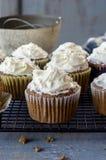 Vers gebakken cupcakes op een rustieke blauwe lijst Stock Foto