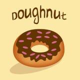 Vers gebakken doughnut bij de gele achtergrond Stock Afbeeldingen