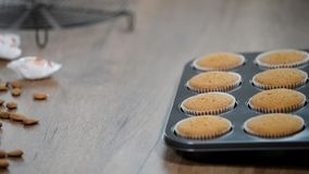 Vers gebakken muffins in vormen stock videobeelden