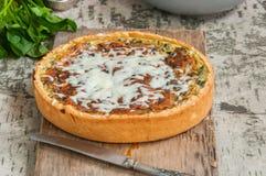 Vers gebakken quiche met spinaziekaas en vla die op a wordt gediend royalty-vrije stock fotografie