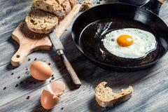 Vers gebraden ei op een pan stock fotografie