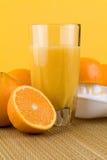 Vers Gedrukt Jus d'orange met Sinaasappelen Royalty-vrije Stock Foto's