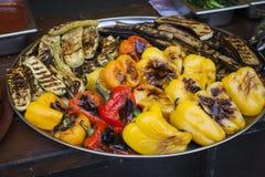 Vers gekookte geroosterde groenten Peper, courgette, aubergine Royalty-vrije Stock Afbeeldingen