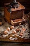 Vers gemalen koffie, okkernoten, kaneel en bonen stock foto's