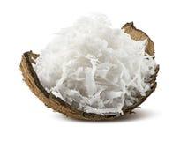 Vers geraspte kokosnoot in shell die op witte achtergrond wordt geïsoleerd Stock Fotografie