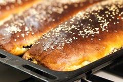Vers gesteund huis gemaakt tot pastei die met sesamzaden op een bakin wordt behandeld Royalty-vrije Stock Foto's