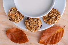 Vers gezond ontbijt met graangewassenkoekjes en melk stock afbeelding
