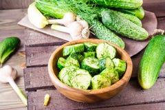 Vers gezouten die komkommer met knoflook en dille wordt ingelegd Stock Foto