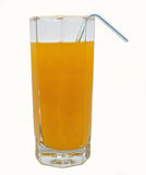 Vers glas jus d'orange met buisje Royalty-vrije Stock Foto