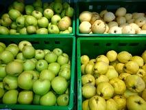 Vers groen appelenclose-up Stock Afbeelding