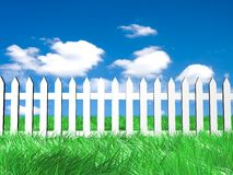 Vers groen gras op zonnige hemelachtergrond Royalty-vrije Stock Foto's