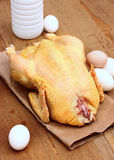 Vers huishoudenvoedsel - kip, eieren en paarmelk Royalty-vrije Stock Foto's