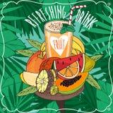 Vers jus d'orange met vele tropische vruchten Stock Afbeelding