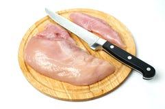 Vers kippenvlees met mes Royalty-vrije Stock Foto
