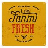 Vers landbouwbedrijf, de affiche van het ecovoedsel Natuurlijk allen, plaatselijk gegroeid Het lokale productembleem ontwerpt Typ royalty-vrije illustratie
