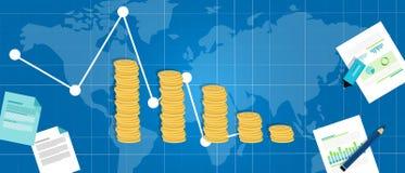 Vers le bas baisse financière économique de PIB de récession de crise Images libres de droits
