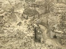 Vers le bas canyons de vue au caboteur de Makran de parc national photographie stock libre de droits