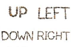 vers le bas de gauche à droite vers le haut des mots Image libre de droits