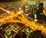 Vers le bas ville de Dubaï Images stock