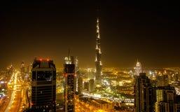 Vers le bas ville Dubaï Photographie stock