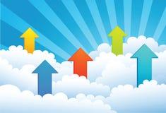 Vers le haut de la flèche par le nuage illustration stock
