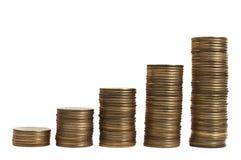 Vers le haut du tableau de l'argent au-dessus du blanc Image stock