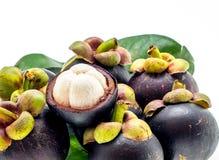 Vers mangostanfruit Azië op wit Stock Afbeelding