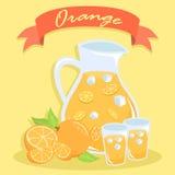 Vers Oranje Juice Pitcher Vector Illustation Stock Afbeeldingen
