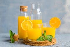 Vers Oranje Juice Summer Concept Healthy Drink Stock Afbeeldingen