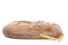 Vers roggebrood met tarweoren op witte achtergrond Stock Foto