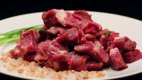 Vers rundvleesvlees met himalayan zout en bieslook op een witte plaat, het roteren stock videobeelden