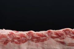 Vers ruw geheel rek van varkensvleeslendestuk met ribben op een donkere achtergrond Front View Stock Foto's