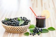 Vers sap van chokeberry of Aronia-melanocarpa in glas en bes in pot royalty-vrije stock afbeeldingen
