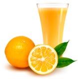 Vers sinaasappel en glas met sap Stock Afbeeldingen