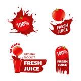 Vers tomatesap, een natuurlijk product, een pictogram, een embleem en een illustrati Royalty-vrije Stock Afbeeldingen