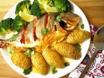 Vers Vissen Gastronomisch Diner - Voorraadbeeld stock foto