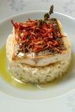 Vers Vissen Gastronomisch Diner - Voorraadbeeld stock afbeelding