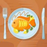 Vers vissen gezond diner Heerlijke schotel vectorillustratie royalty-vrije illustratie