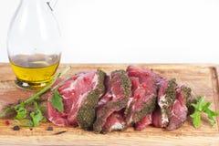 Vers vlees: ruw ongekookt varkensvlees Stock Foto's