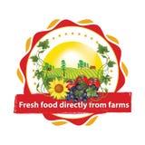 Vers voedsel direct van landbouwbedrijven - voor het drukken geschikte reclamesticker/etiket stock illustratie