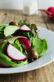 Vers voorbereide die salade van greens, rode radijzen en groene olijven wordt gemaakt royalty-vrije stock afbeeldingen