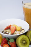 Vers vruchtesap en muesli Stock Fotografie