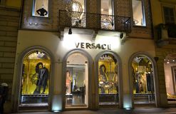 Versace fashion boutique for women decorated for the Christmas holidays. royalty free stock image