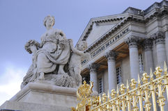 Versaille palace, Paris. Versaille palace and statue on the gates, Paris Royalty Free Stock Photos