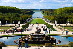 Versailles Castle gardens with fountain & tourists , Versailles Stock Photos