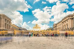 Versailles chateau. France. View of golden gate to palace. Royal Royalty Free Stock Photo
