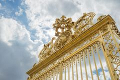 Versailles chateau. France. View of golden gate to palace. Royal Stock Photo