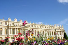 Versailles with flowers. Versailles Palace and Gardens, national ladmark of France Royalty Free Stock Image